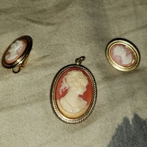 Cameo pendant and earrings